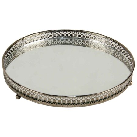 Bandeja Redonda Espelhada Decorativa Luxo Metal Cromado Cor Ferro