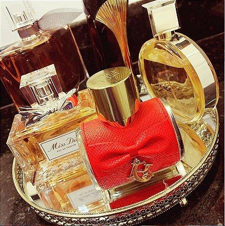 Bandeja Redonda Espelhada Decorativa Luxo Dourada