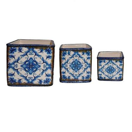 Conjunto de Cachepots Quadrados Decorativos em Cerâmica Amarelo 3 Peças