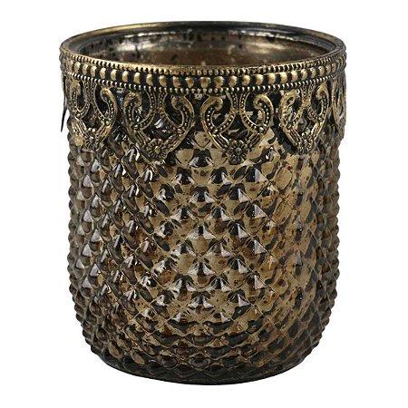 Castiçal Decorativo Cromado Luxo de Vidro e Metal Dourado