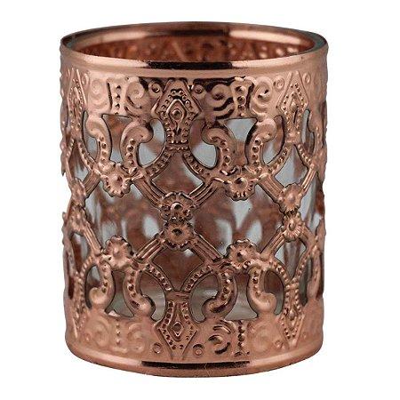 Castiçal Decorativo Vazado Luxo de Vidro e Metal Bronze