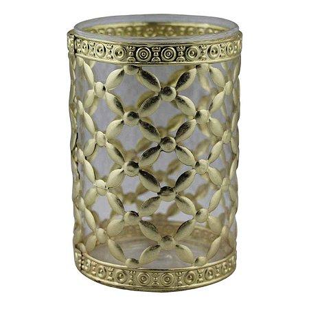 Castiçal Decorativo Luxo de Vidro e Metal Dourado