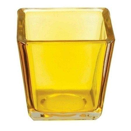 Castiçal Porta Velas Decorativo Cubo Amarelo Decorativo Vidro