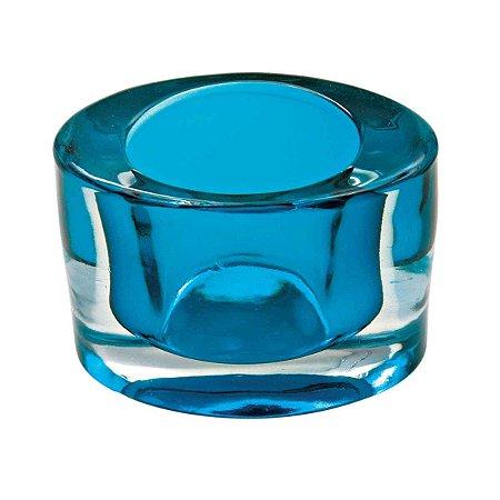 Castiçal Porta Velas Decorativo Oval Azul Decorativo Vidro