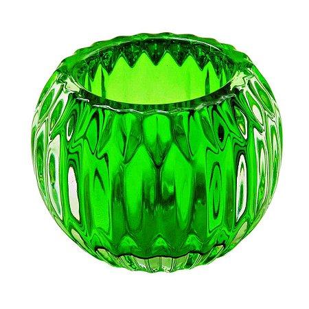 Castiçal Porta Velas Decorativo Bola Verde Decorativo Vidro