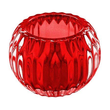 Castiçal Porta Velas Decorativo Bola Vermelho Decorativo Vidro