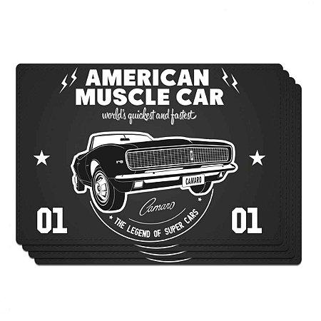 Jogo Americano Vintage American Muscle Car Preto 4 peças
