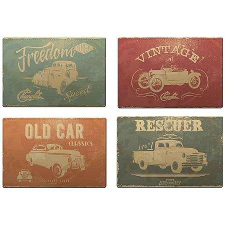 Jogo Americano Vintage PVC GM Vintage Cars And Colors 4 peças
