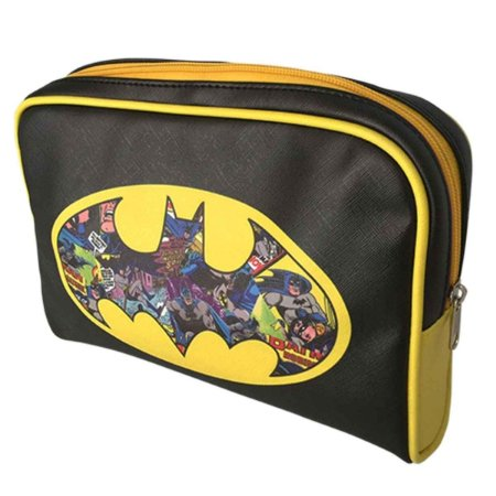 Necessaire DC Comics Batman Logo Colorido Fundo Preto Fibra Sintética