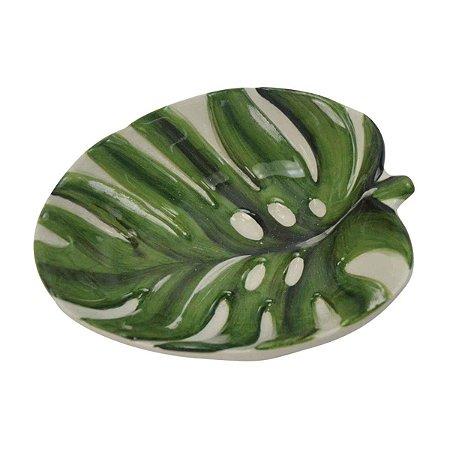 Petisqueira de Cerâmica Folha Branca e Verde Decorativa