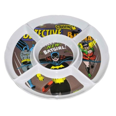 Petisqueira de Melamina Redonda DC Comics Batgirl Batman Robin 5 Divisórias