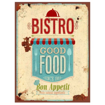 Placa Decorativa Vintage Bistrô Good Food Metal Bon Appetit Metal