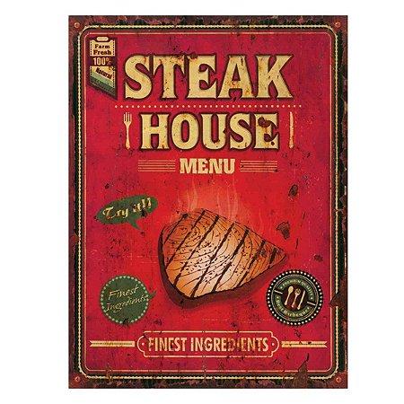 Placa Decorativa Steak House Metal