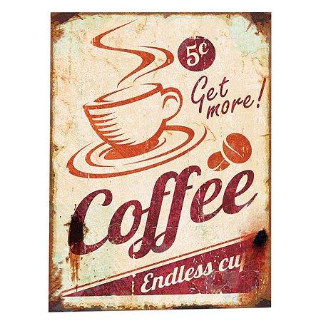 Placa Decorativa Vintage Coffe Metal