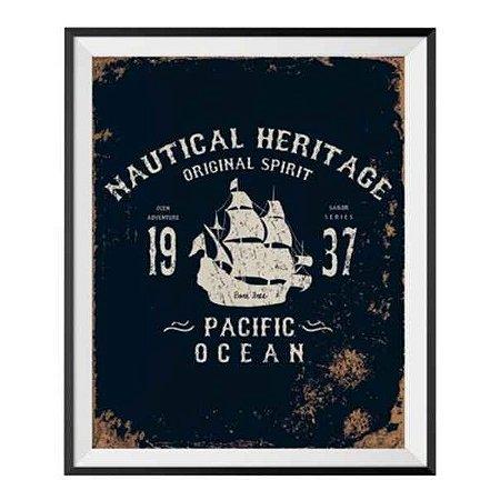 Poster com Moldura e Passepartour Loft Pacif Ocean MDF