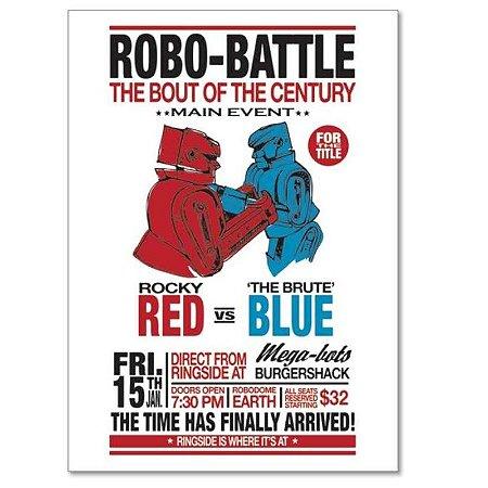 Poster com Moldura Loft Robo Battle MDF