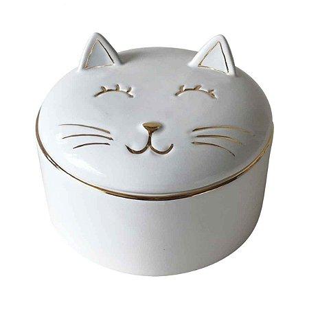 Pote Decorativo Cerâmica Gato Branco e Dourado
