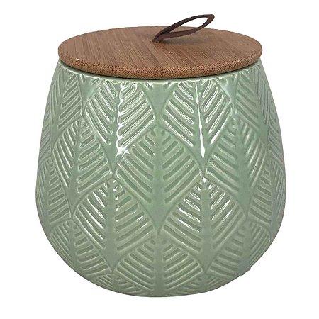 Pote Decorativo Cerâmica Verde com Tampa de Madeira