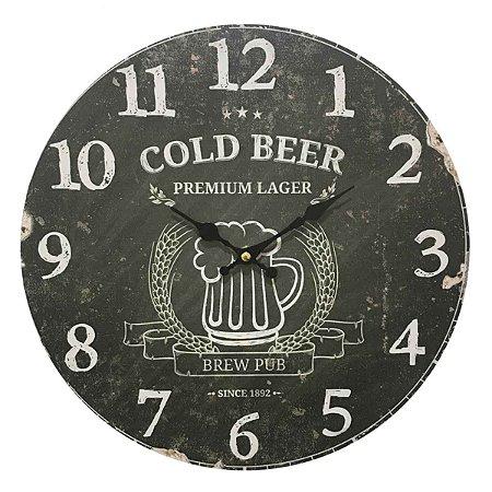 Relógio de Parede em Madeira Cold Beer Black