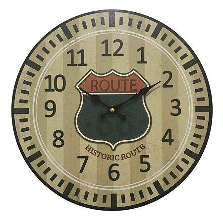 Relógio de Parede em Madeira Route 66