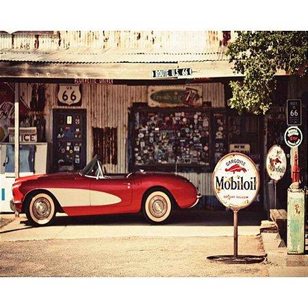 Tela Carro Vermelho e Bomba de Gasolina