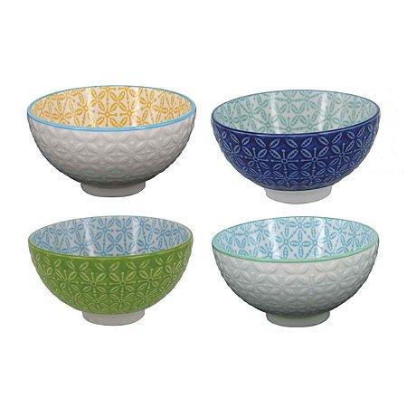 Conjunto de Bowls de Porcelana Colorido 4 Peças