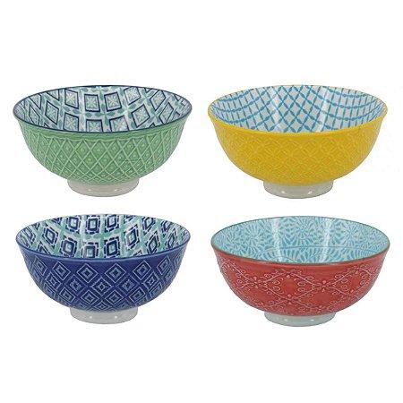 Conjunto de Bowls de Porcelana Cores 4 Peças