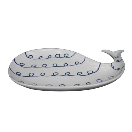 Travessa de Cerâmica com Formato de Baleia branco e azul