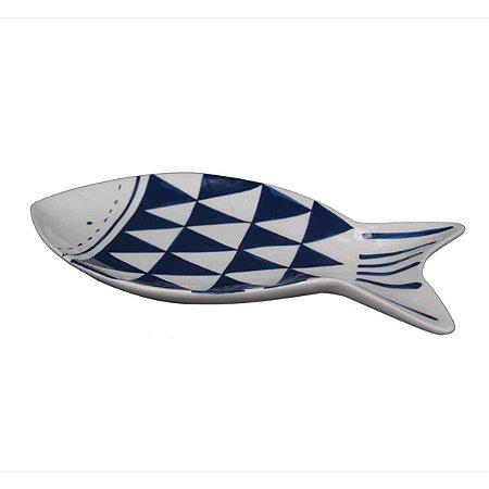 Travessa de Cerâmica com Formato e Desenho de Peixe branco e azul