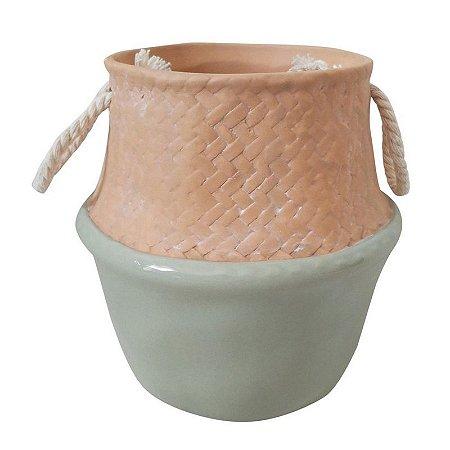 Mini Vaso Decorativo Cerâmica Bege e Verde e Corda nos Lados