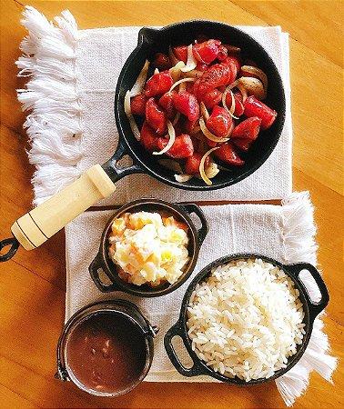 Mini Frigideira Redonda Lisa de Ferro Fundido para Ovo e Omelete