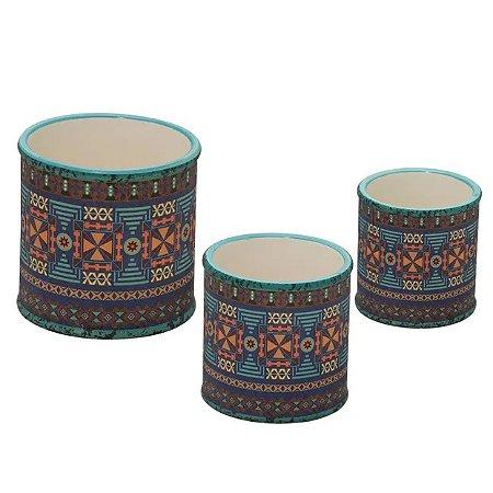 Jogo 3 Cachepot Decorativo em Dolomita nas Cores Azul e Bege