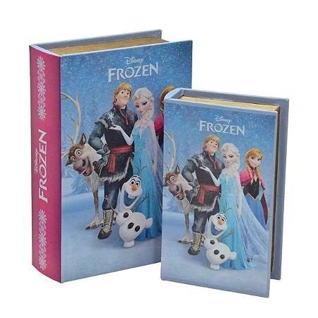 Caixa Livro Frozen Disney em Couro Sintetico e MDF na Cor Azul