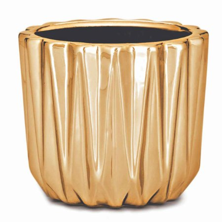 Cachepot Decorativo Dourado em Cerâmica