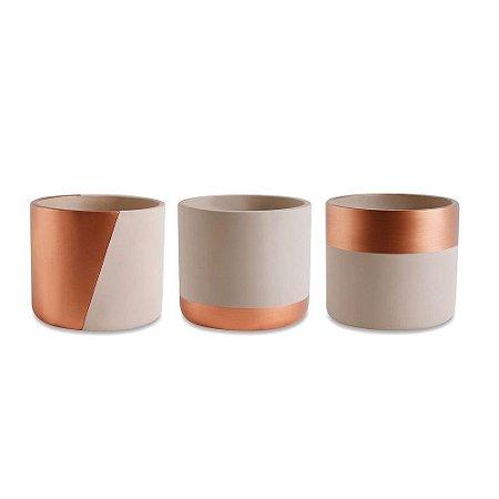 Conjunto de Cachepots Decorativos Nude e Cobre em Cimento 3 Peças