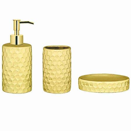 Jogo de Banheiro Dourado 3 Peças