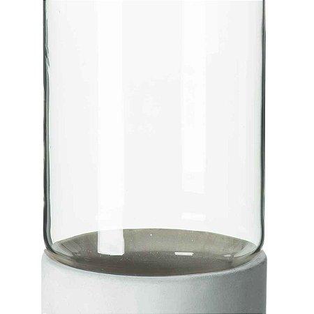 Vaso Decorativo Vidro e Cimento