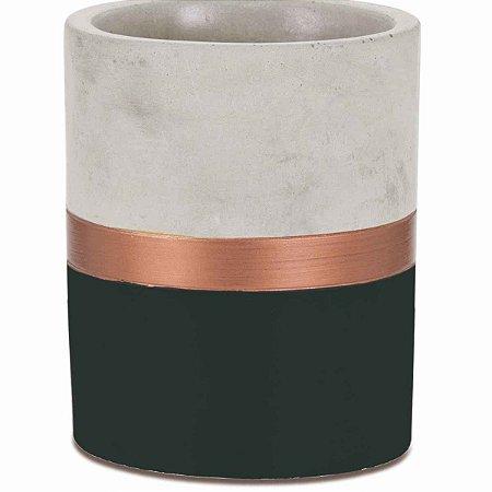 Vaso Decorativo Preto e Cobre Cimento