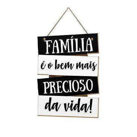Placa Decorativa de Frases Família