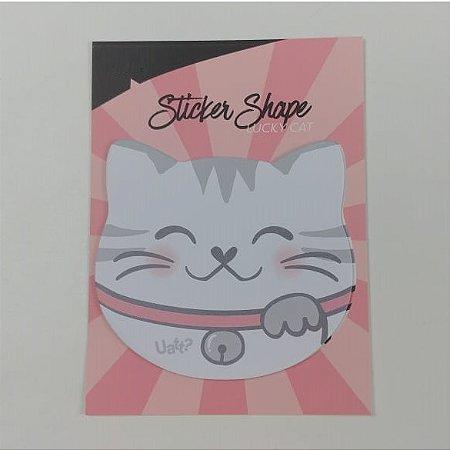 Sticker Shape Bloco com 15 Folhas Papel Gatinha Rosa