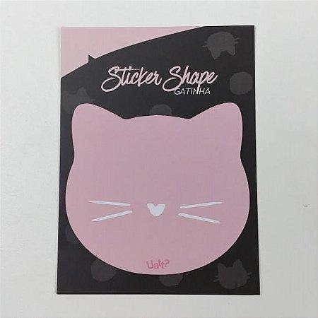 Sticker Shape Bloco com 15 Folhas Papel Gatinha Lucky Cat