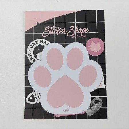 Sticker Shape Bloco com 15 Folhas Papel Gatinha Rawr