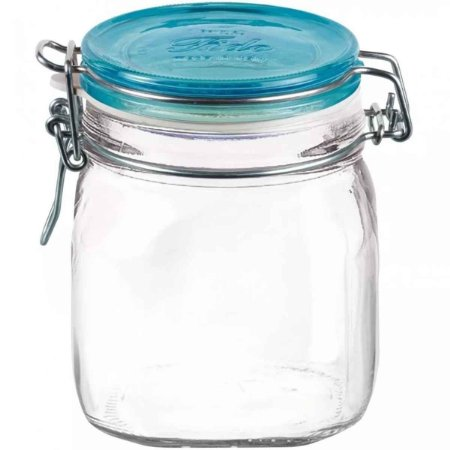 Pote de Vidro Italiano Hermético Bormioli Rocco Fido Vidro Transparente Tampa Azul 750ml