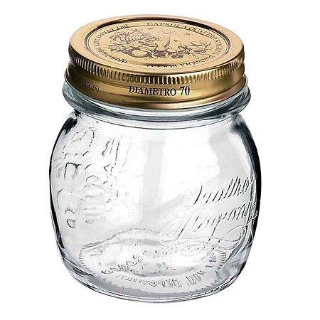Pote de Vidro Italiano Hermético Bormioli Rocco Quattro Stagioni Vidro Transparente com Tampa Dourada 250ml