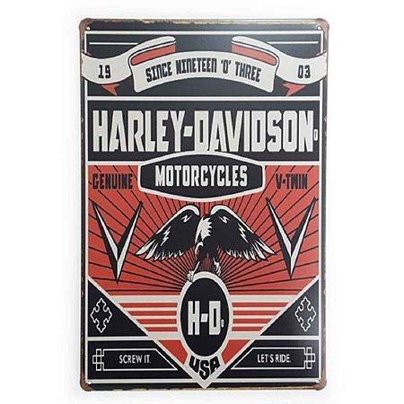 Placa Decorativa de Metal Harley Davidson Genuine V-Twin