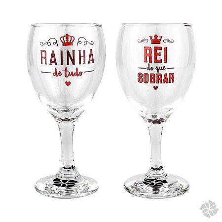 Conjunto 2 Taças de Vinho Rei e Rainha 250 ml