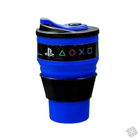 Copo Retrátil Azul 400 ml Playstation