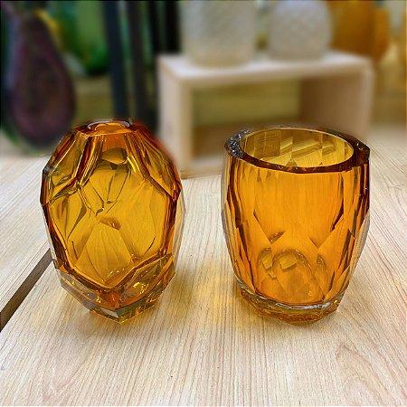 Vaso Gemstone 12 x 14 cm Vidro Âmbar