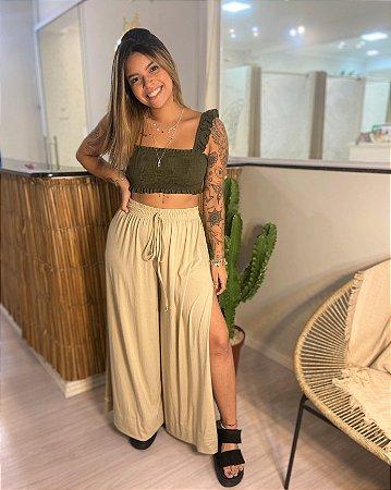Pantalona Fenda Lateral - Creme