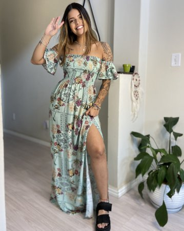 Vestido Luiza Longo Lastex - Floriô Verde